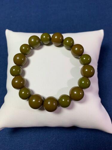 Artisan Made Repurposed Vintage Bakelite Round Beads Drab Olive Green