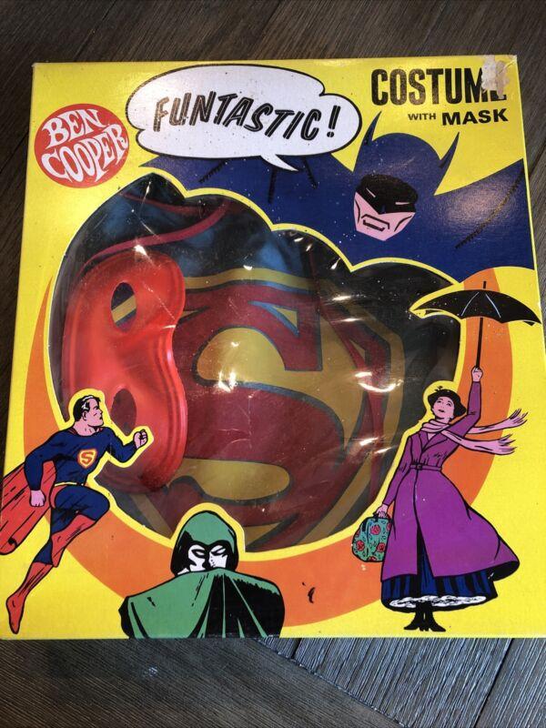 Vintage Ben Cooper Superman Costume With Mask NOS Kids Sz 12-14 In Box 60s