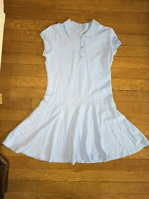 * the Childrens Place solid blue school uniform collar dress large 10 - 12