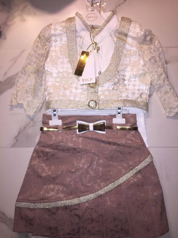 Girls Lacy Top With Brown Pleated Skirt, Size 8 New With Necklace