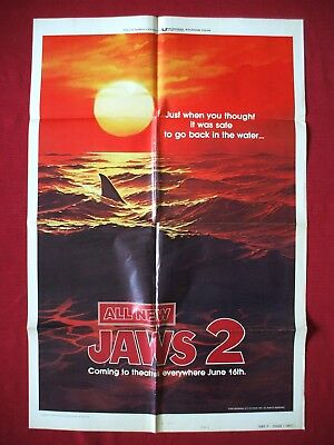 JAWS 2 * 1978 ORIGINAL MOVIE POSTER 27x41 VINTAGE SHARK RED SEA TEASER HALLOWEEN - Halloween 2 1978