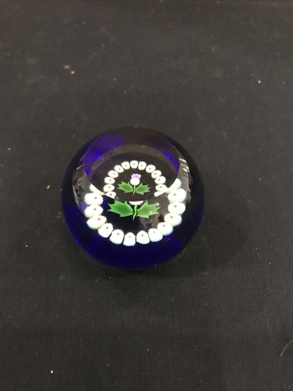 Thistle milafiori Caithness paperweight 2nd Factory Art Glass Signed