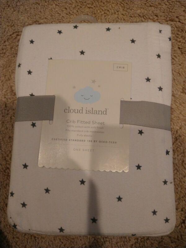 NEW Baby Fitted Crib Sheet Cloud Island White/Gray Stars Free Shipping! OEKO-TEX