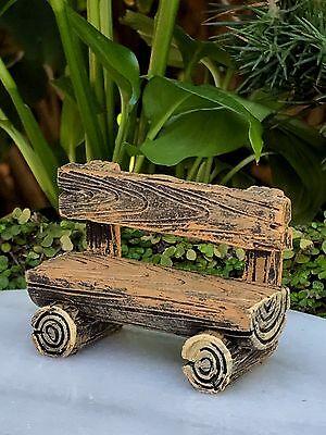Miniature Dollhouse FAIRY GARDEN Furniture ~ Mini Log Look Resin Bench ~ NEW