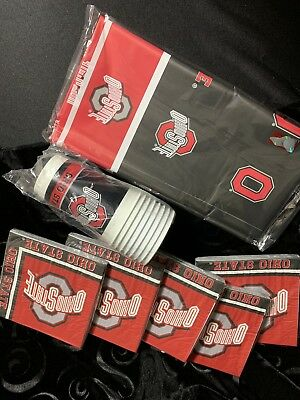 Ohio State Party Pack (4) 8 Cups, 100 Napkins, a Tablecloth Neb - Ohio State Party Supplies