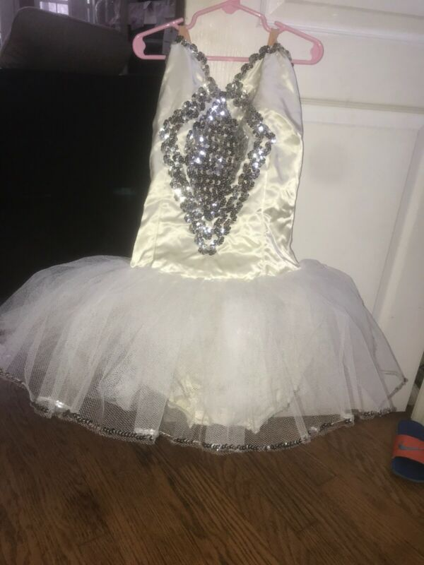 Dance Costume Adult Small White Silver Sequ Tutu Ballet Solo Competition