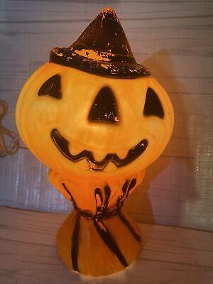 Vintage Plastic Pumpkin Jack O Lantern JOL Blow Mold Hay Stack Scarecrow
