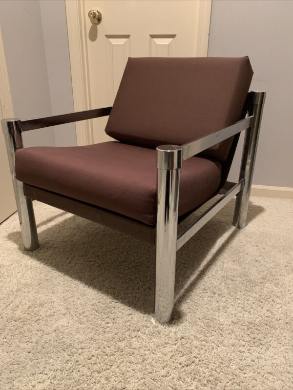 VINTAGE MODERN 1970s CHROME COLOR BROWN FABRIC LOUNGE CHAIR MCM