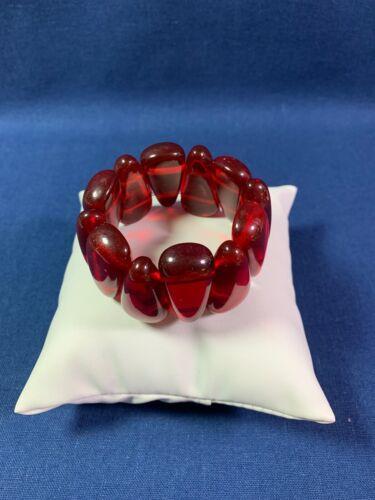 Artisan Stretch Bracelet Repurposed Vtg Bakelite Beads Translucent Red Triangles