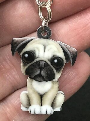 "Dog Pug Big Eyes Enamel Double-sided Tibetan Silver 18"" Necklace D-1531"