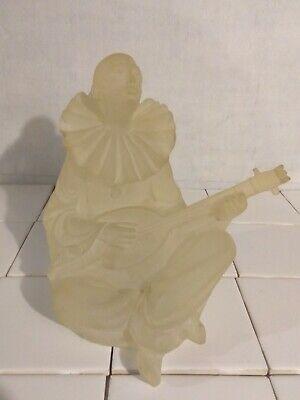 VTG1987 CRYSTALLUS Frosted Lucite Glass Sculpture,Mistrel Musicion Lute Figure