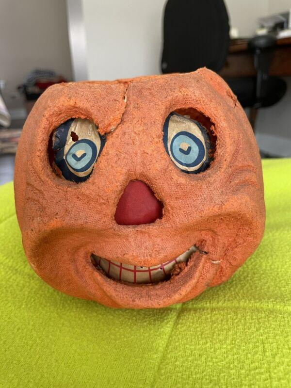 """Antique Paper Mache Halloween Jack-O-lantern Pumpkin 5"""" Tall"""