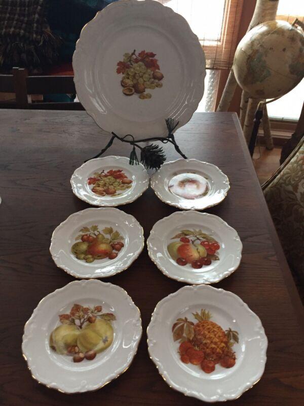 Winterling Bavaria Desert Platter and Plates Painted Fruit Center, Beautiful!