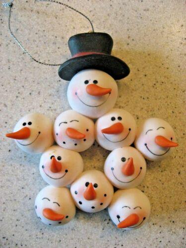Vintage Hallmark Star of Snowmen Heads Christmas Ornaments Really Cool