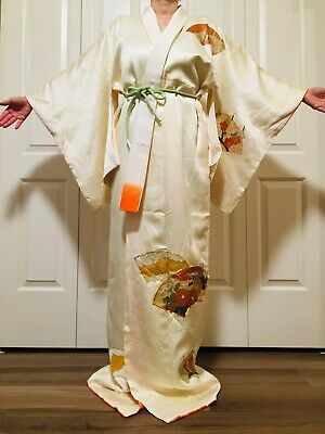 Snow LONG Vintage Silk Japanese Kimono Robe Authentic Costume High Quality