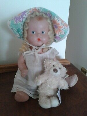 SWEET LITTLE PEDIGREE COMPOSITION VINTAGE DOLL - 10 INCHES