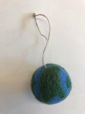 Needle Felted World Globe Ornament