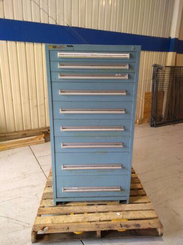 "Stanley Vidmar 9 Drawer Cabinet Blue 27-5/8"" D X 29-7/8"" W X 59"" H"