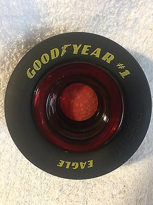"Large Goodyear Tire Red Glass Ashtray Rubber Tire 5""x2"" New Ashtray Rare NASCAR"