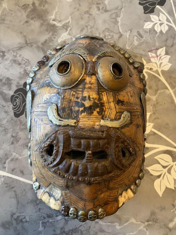 Vintage Ceremonial TIBETAN BUDDHIST Turtle Shell KAPALA MASK Tribal Metal