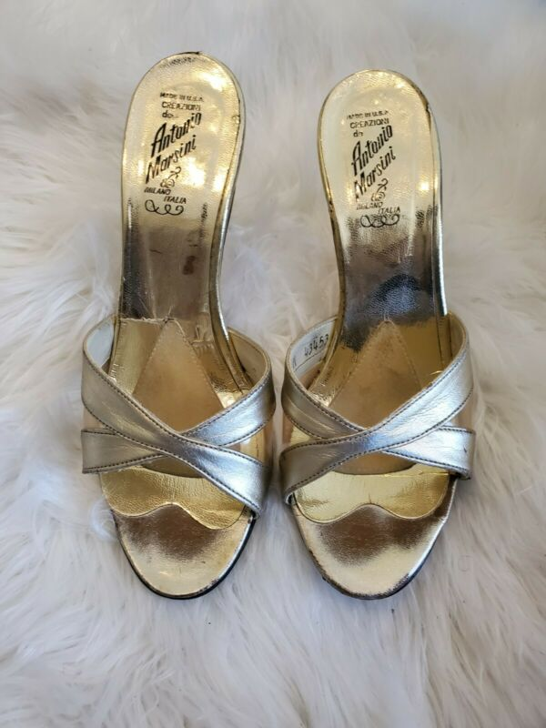 Vintage 70s Antonio Marsini Gold Leather Heels Slides Made in Italy Sz 8