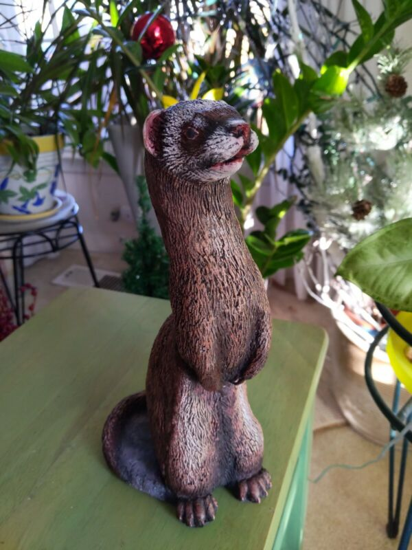 HAND CAST SOLID CONCRETE 10 INCH TALL FERRET Standing STATUE CEMENT 13