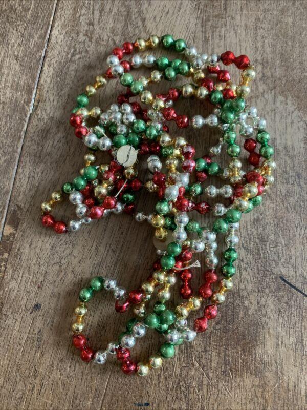 """Vintage Christmas Glass Multi Color Bead Garland 92""""   #8B"""