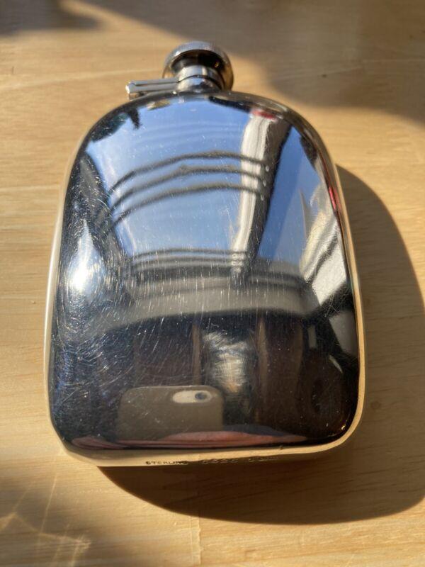 Antique Liqueur Art Deco Sterling Silver Hip Flask 4 Gill