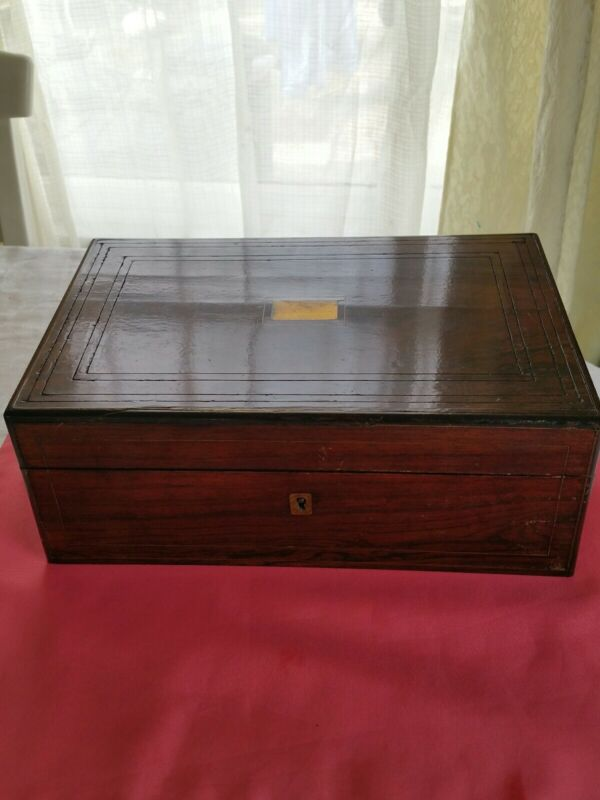 Antique Rose Wood box With inlaid top 13 X 9.5 X 4.6 In