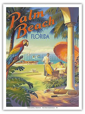 Florida Vintage Poster (Palm Beach, Florida Kerne Erickson Vintage Style Travel Poster)