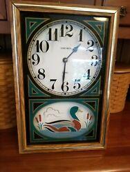 Vintage Verichron Green Gold Quartz Duck Wall Clock Wood Hunting USA Made