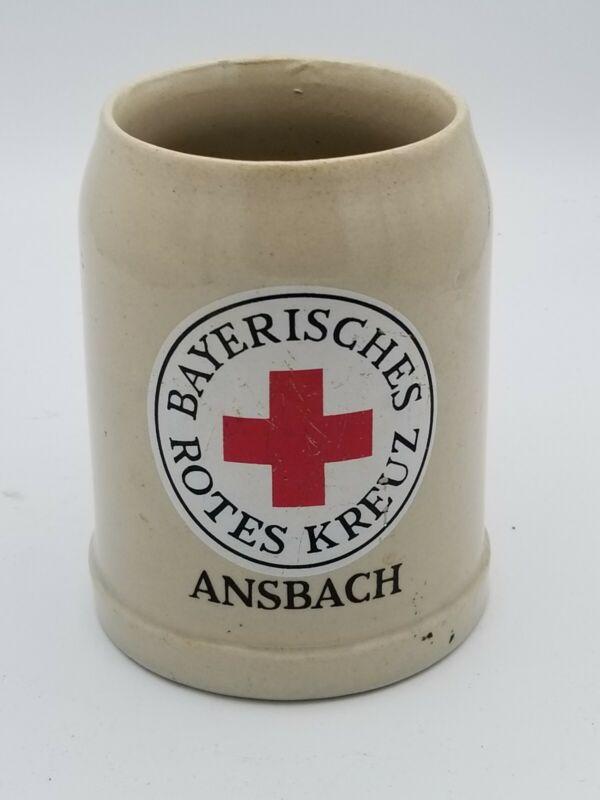 Vintage German Red Cross Bayerisches Rotes Kreuz Ansbach Stein Mug .51 liter