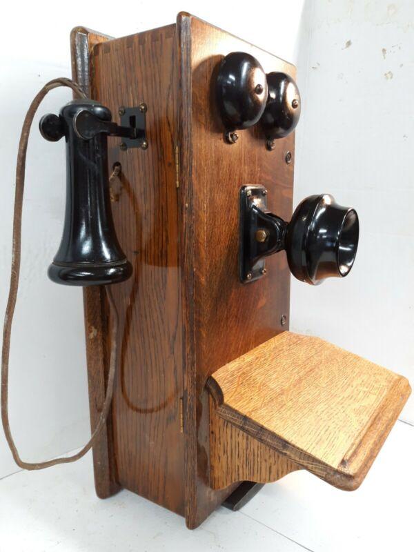 Antique Kellogg Hand Crank Quarter Sawn Oak Box Wall Mount Telephone w/ Magneto