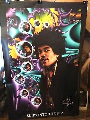 Jimi Hendrix Slips Into the Sea RARE Poster W/ Signature in Print  24 x 36 New