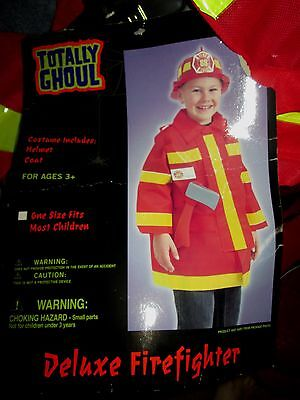 Kids FIRE CHIEF COSTUME Fireman HELMET & COAT For Ages 3+ OS NEW Firefighter 2pc - Fireman Costumes For Kids