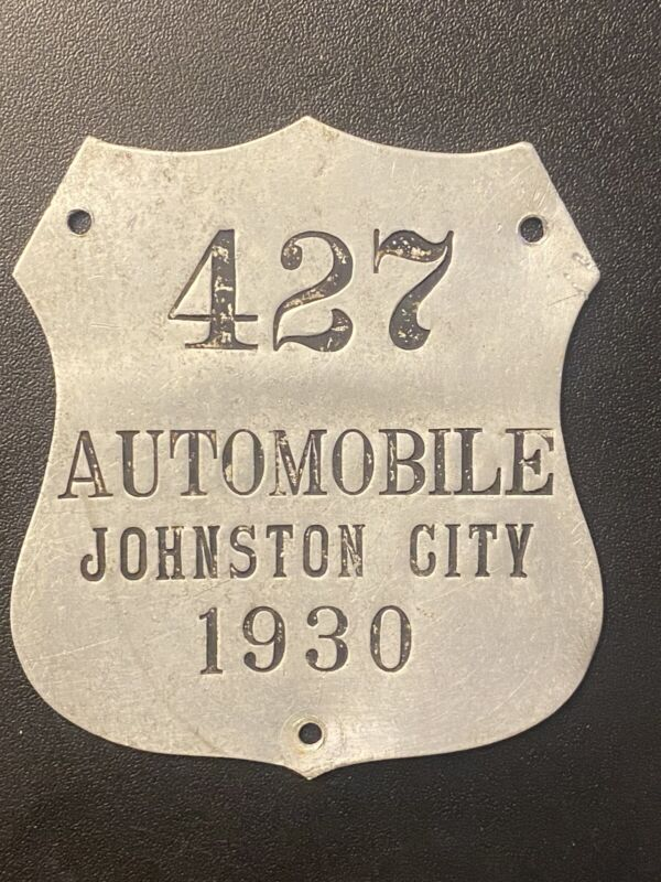 Vintage Police Chief City Car Tag/ Plate Topper Johnston City, Illinois