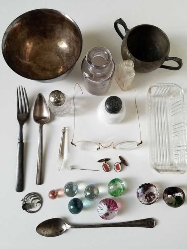 Mixed lot of antique smalls. SS, S/Plated, Glass, Metal, Etc