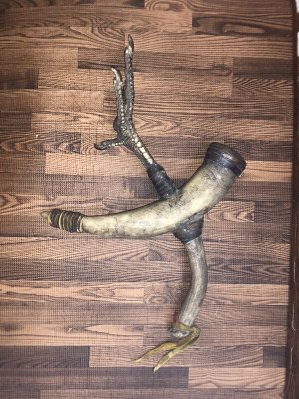 Antique Native Plains Indian Turkey Foot Bovine Bull Horn Fetish Medicine Rattle
