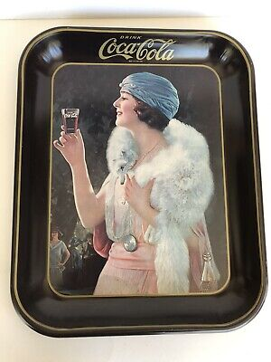 Vintage Antique 1925 Coca Cola Flapper Party Girl Advertising Serving Tray