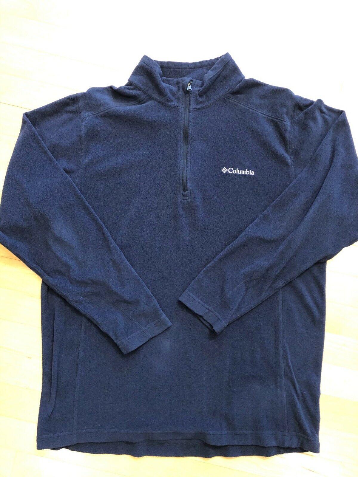 Columbia Mens Quarter Zip Fleece Navy Size MEDIUM