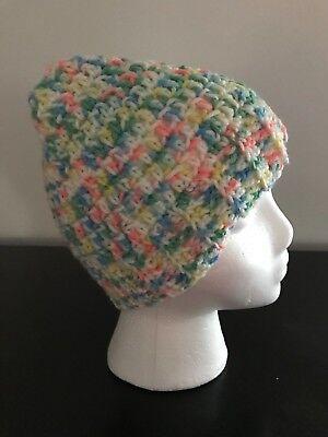 Messy Bun Hat Ponytail Crochet Handmade Variegated Pastels Stocking Stuffer