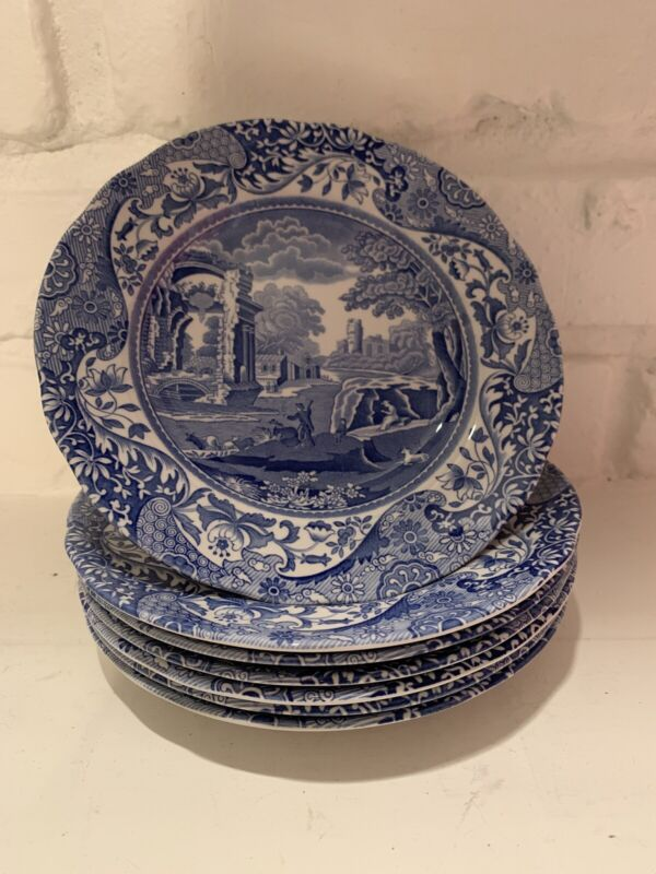 SPODE dishes made in England 1990s blue italian dinnerware set of 7