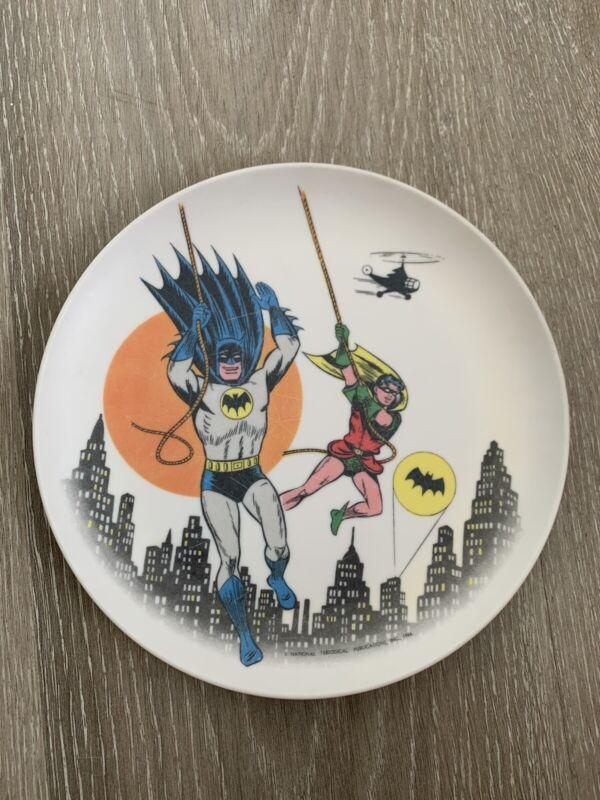 Vintage 1966 Batman and Robin Melamine Plastic Plate 7 Inches