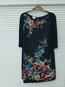 Gorgeous black silk Monsoon Kyoto tunic/dress size 16 excellent condition
