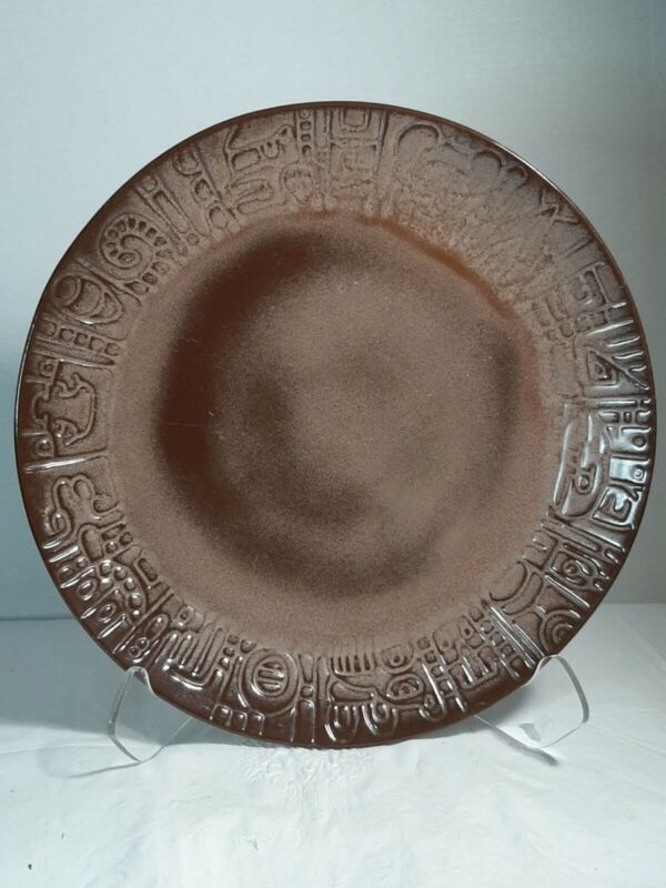 "Frankoma Art Pottery Platter  Charger Aztec Mayan 14.50"""