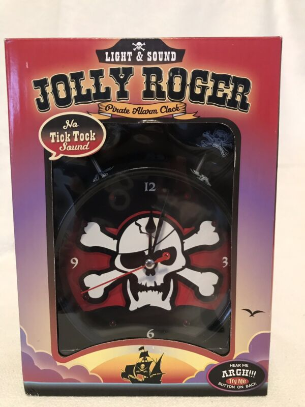 Jolly Roger Pirate Clock Light and Sound Alarm NIB With Sounds Bucs Brady Gronk