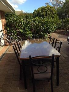Timber Dining table with glass top and 6 chairs Helensvale Gold Coast North Preview