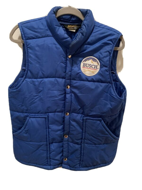 Vintage Swingster Busch Beer Blue Puffer Vest Mens Size Medium Budweiser Family