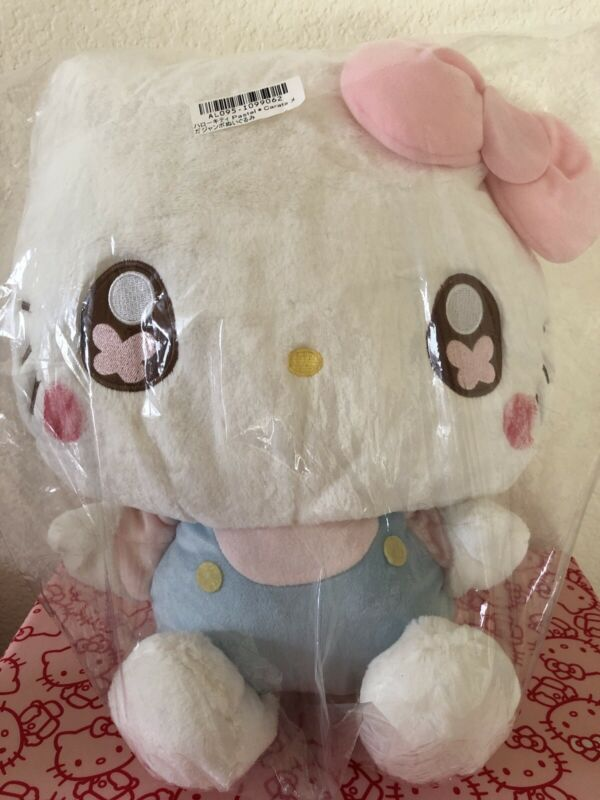 "Hello Kitty LARGE 14"" Pastel Blue/Pink Carats Plush 2018 JAPAN Import"