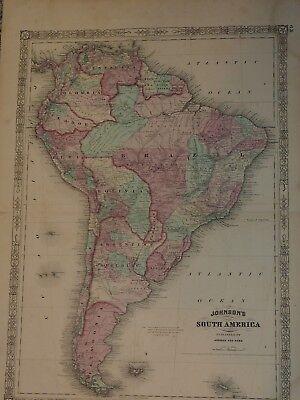 ORIGINAL 1863 Johnson's SOUTH AMERICA 18